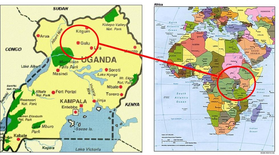 Gulu and Africa Maps