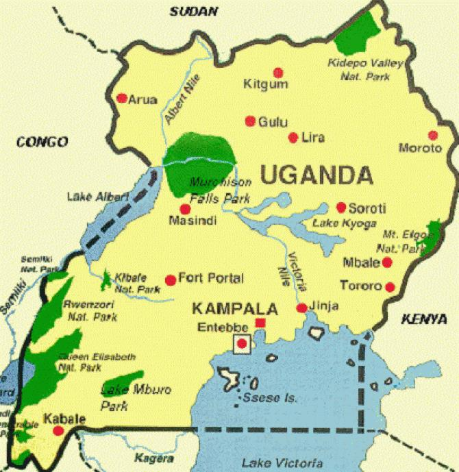 Uganda Map Including Soroti