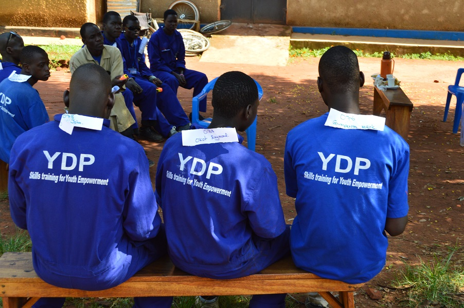 YDP students at GDPU waiting for their examiner in 2015. The labels show their name and exam number.